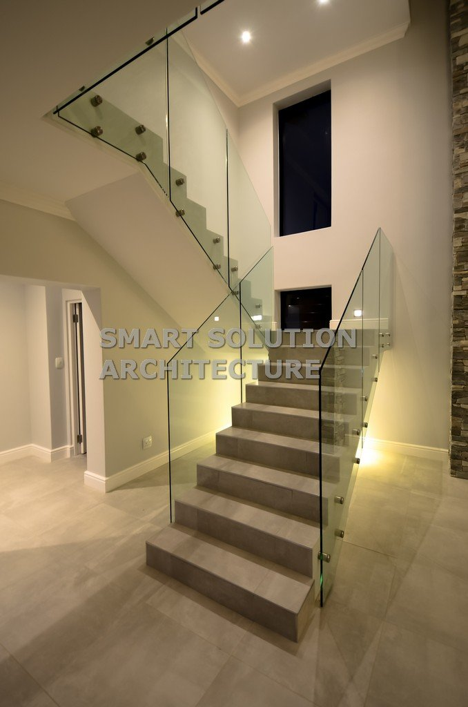 dogleg stairs with feature lights