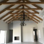 naturally stained timber trusses